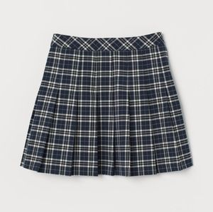 H&M Blue Plaid Pleated Mini Skirt by Divided
